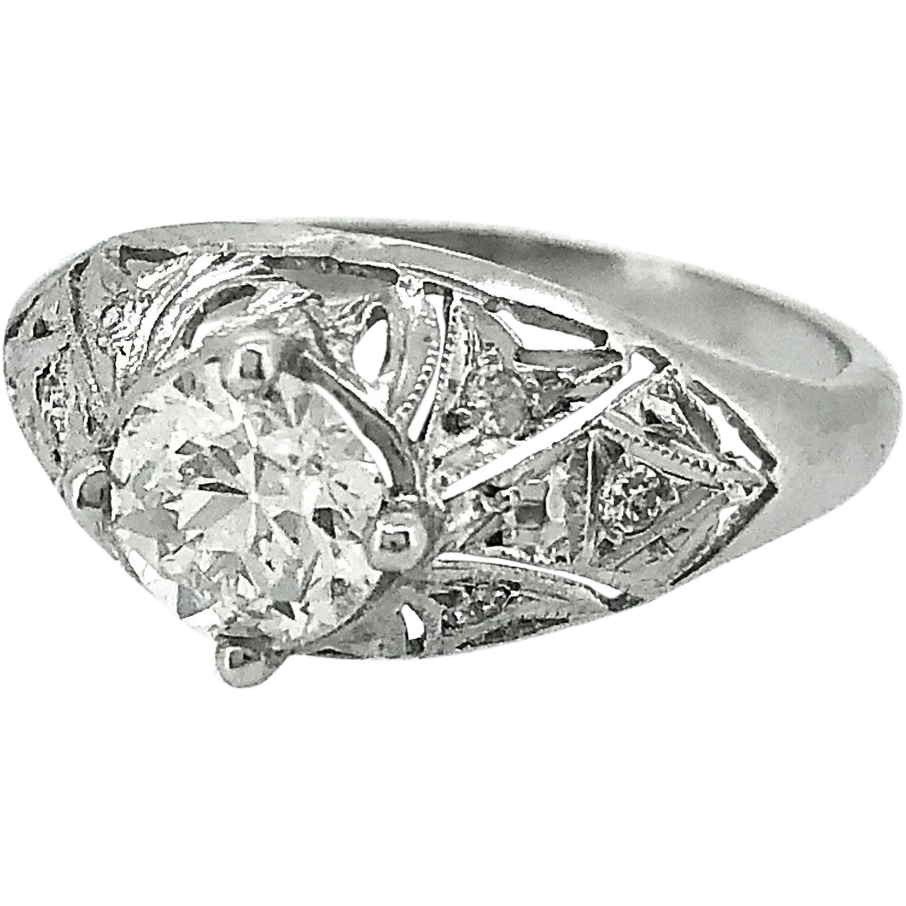 Antique Engagement Ring .63ct. Diamond & Platinum Art Deco - J35566