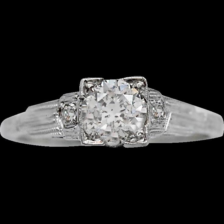 Antique Engagement Ring .64ct. Diamond & 18K White Gold - J35573
