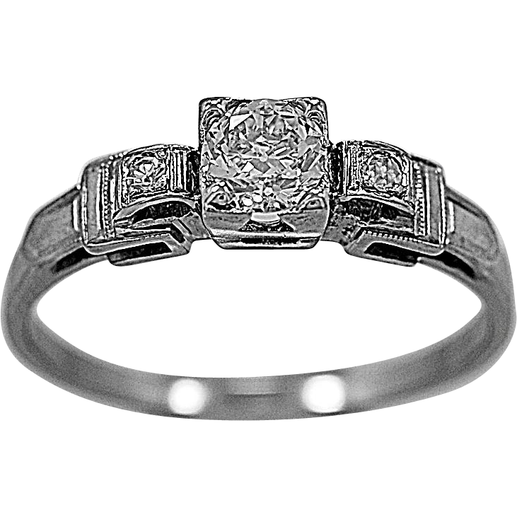 Antique Engagement Ring .50ct. Diamond & 18K White Gold - J35576