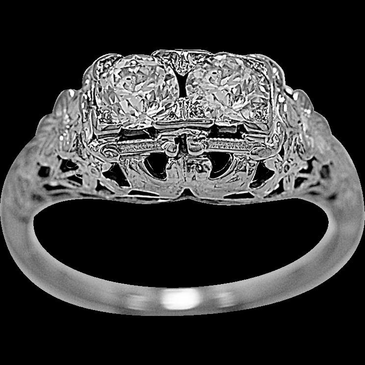 Vintage Engagement Ring .60ct. Diamond & 18K White Gold - J35584