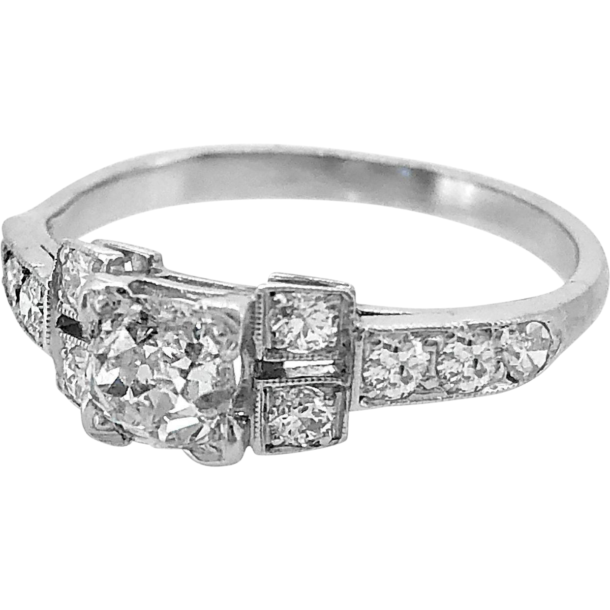 Vintage Engagement Ring .58ct. Diamond & Platinum Art Deco - J35589
