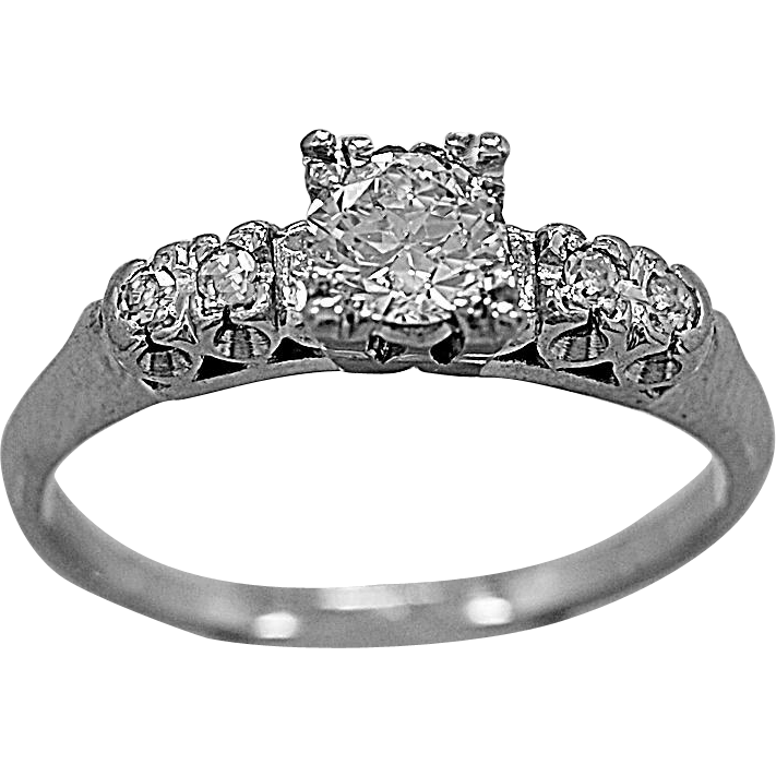 Antique Engagement Ring .51ct. Diamond & Platinum Art Deco - J35590