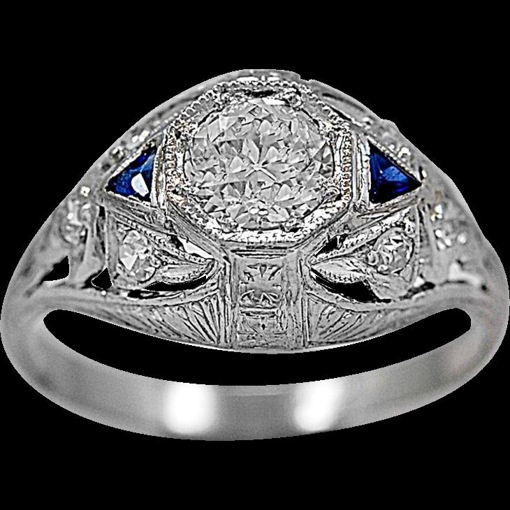 Antique Engagement Ring .53ct. Diamond, Sapphire & Platinum - J35594