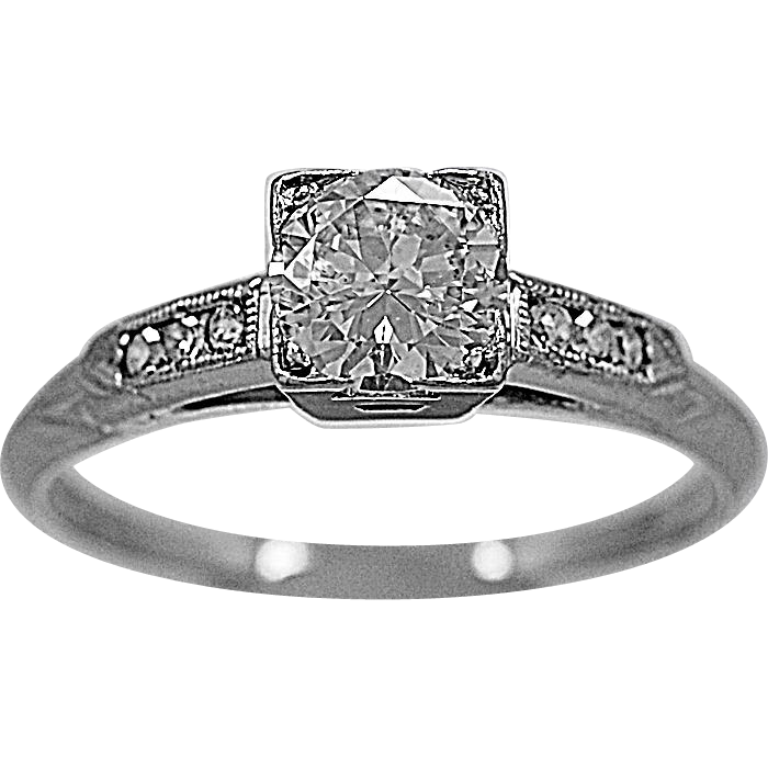 Vintage Engagement Ring .50ct. Diamond & Platinum - J35597