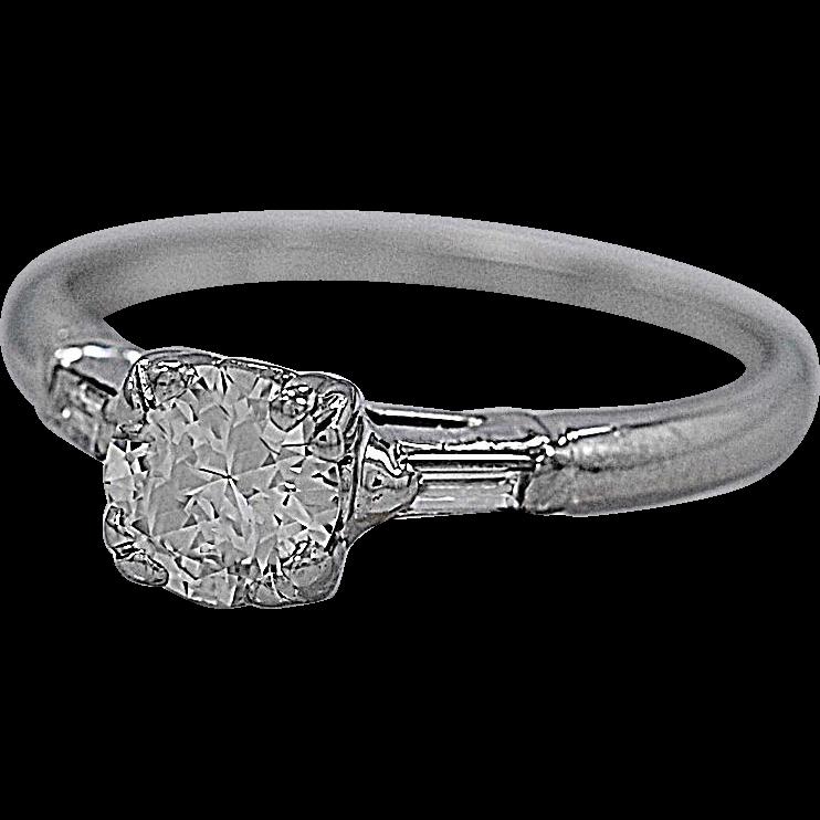 Antique Engagement Ring .61ct. Diamond & Platinum - J35598