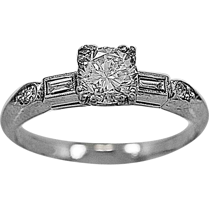 Vintage Engagement Ring .55ct. Diamond & Platinum Art Deco - J35600