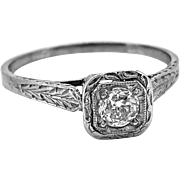 Antique Engagement Ring .28ct. Diamond & 18K White Gold Edwardian - J35601