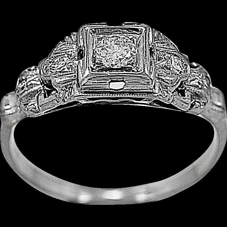 Antique Engagement Ring .15ct. Diamond, Platinum & 18K White Gold - J35603