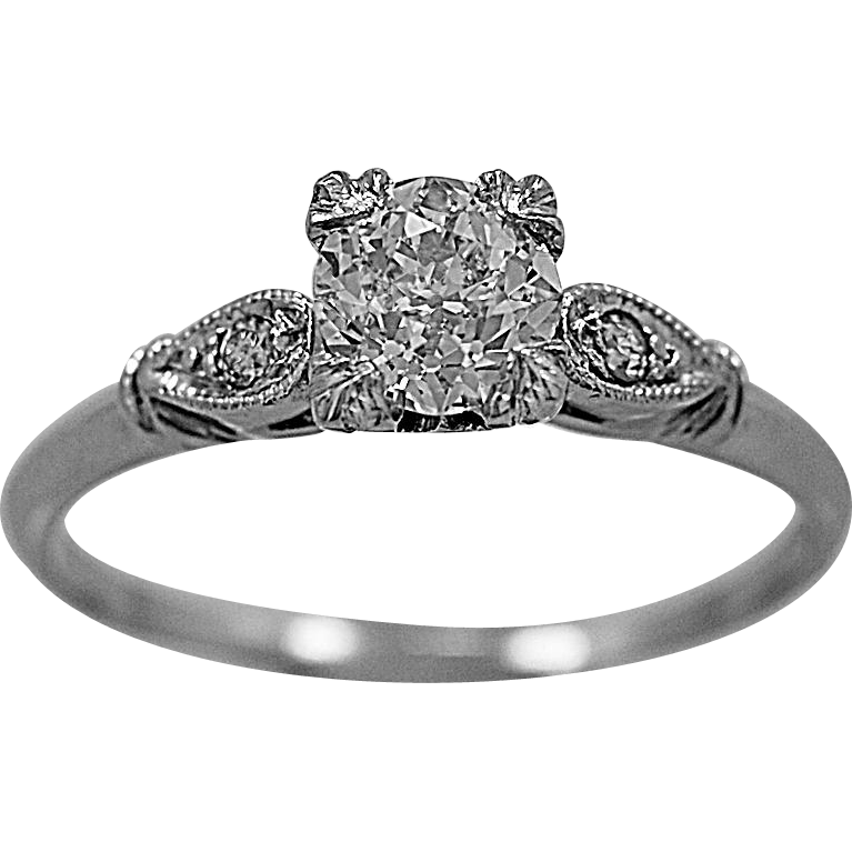 Antique Engagement Ring .70ct. Diamond & Platinum Art Deco - J35607