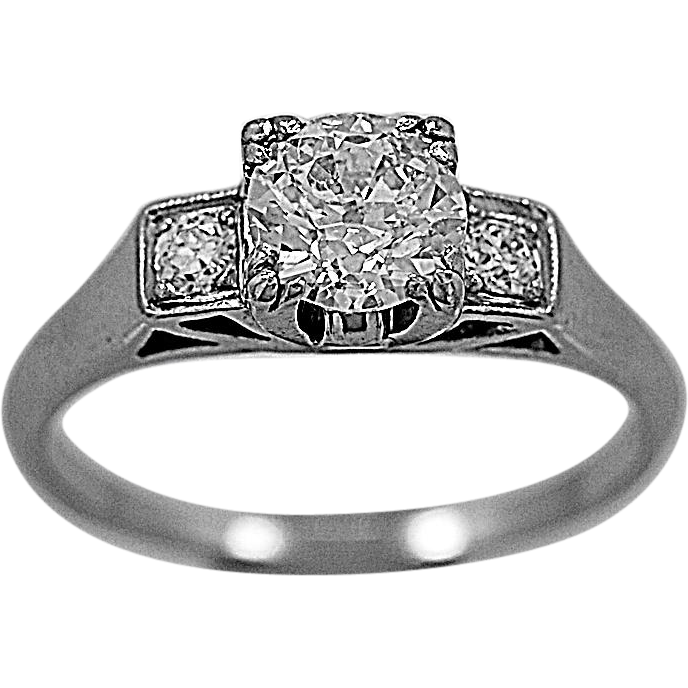 Antique Engagement Ring .75ct. Diamond & Platinum Art Deco - J35609