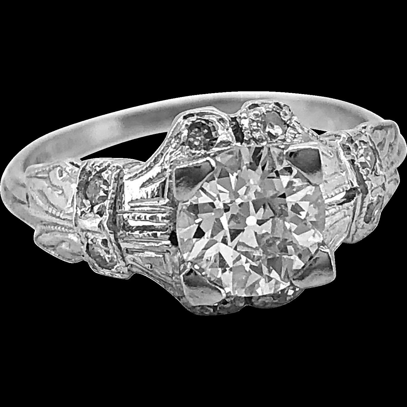 Vintage Engagement Ring .84 ct. Diamond & Platinum Art Deco