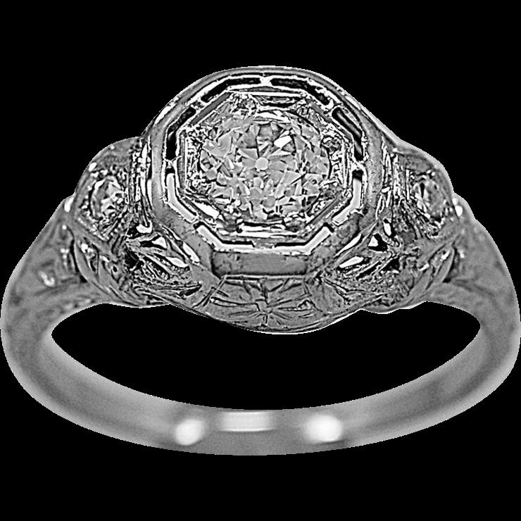 Vintage Engagement Ring .50ct. Diamond & 18K White Gold Art Deco - J35611