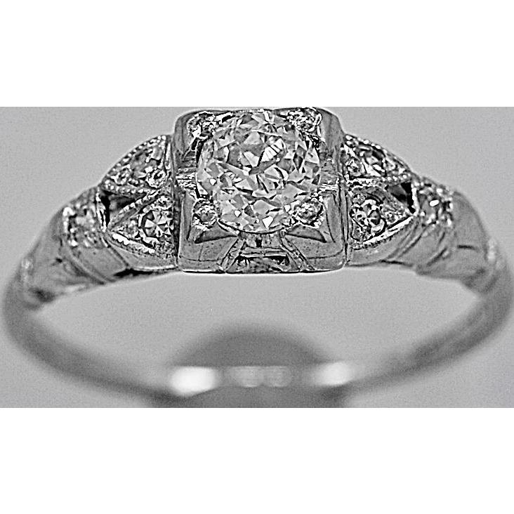 Vintage Engagement Ring .31ct. Diamond & Platinum Art Deco - J35612