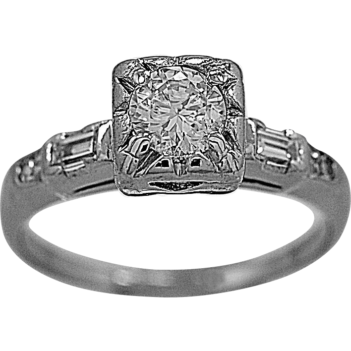 Antique Engagement Ring .46ct. Diamond & Platinum Art Deco - J35613