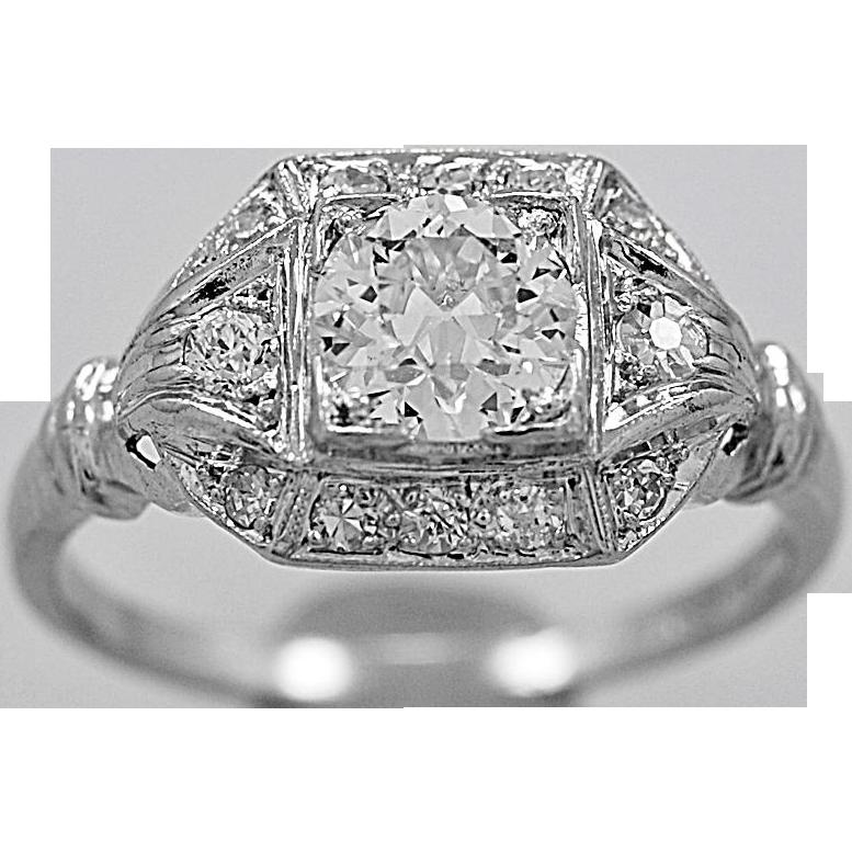Antique Engagement Ring .70ct. Diamond & Platinum Art Deco - J35615