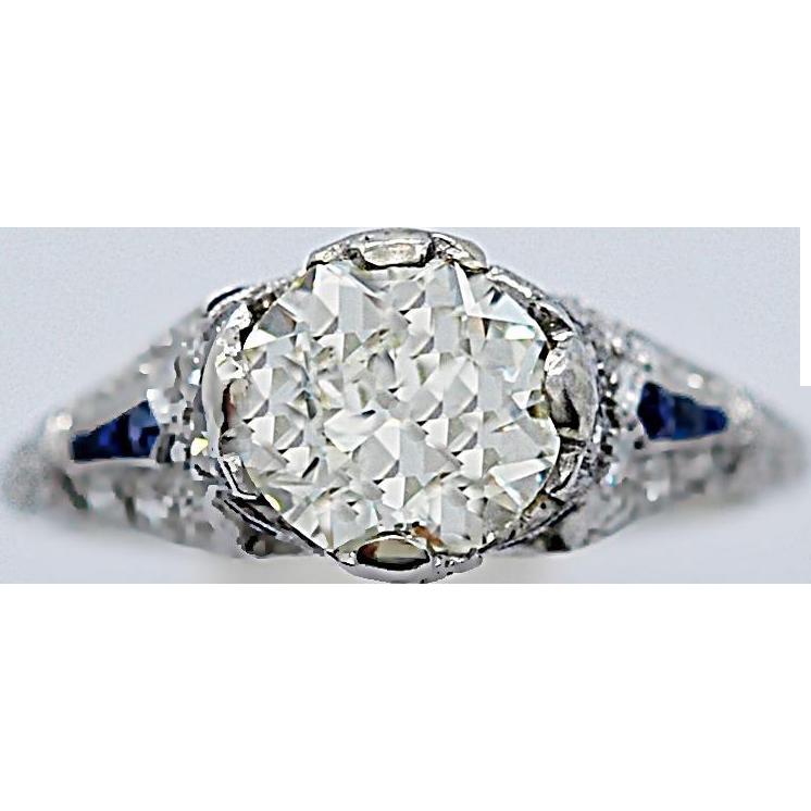 Vintage Engagement Ring 1.54ct. Diamond, Sapphire & Platinum E.G.L. - J35631
