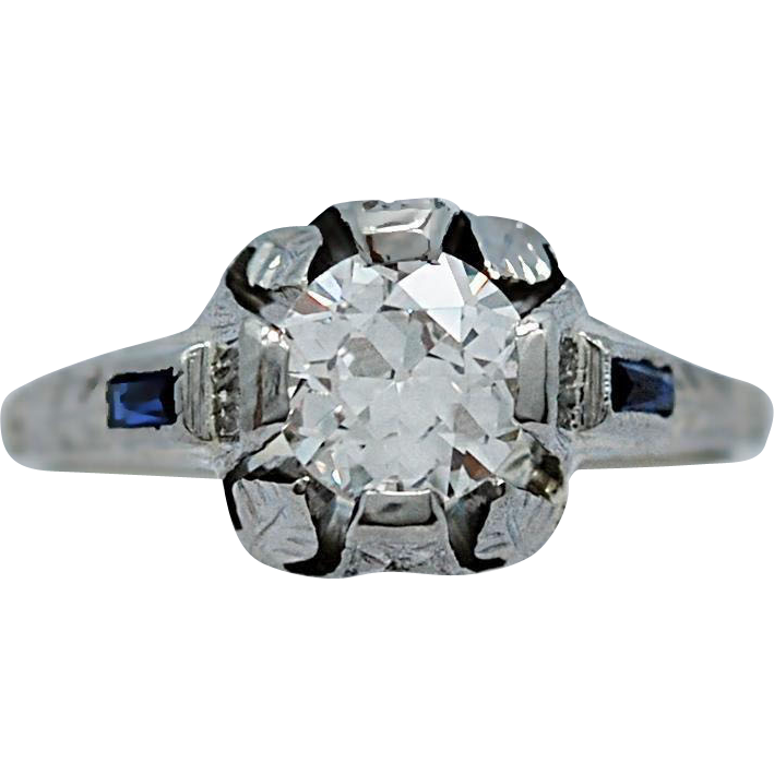 Antique Engagement Ring .89ct. Diamond, Sapphire & 18K White Gold - J35632