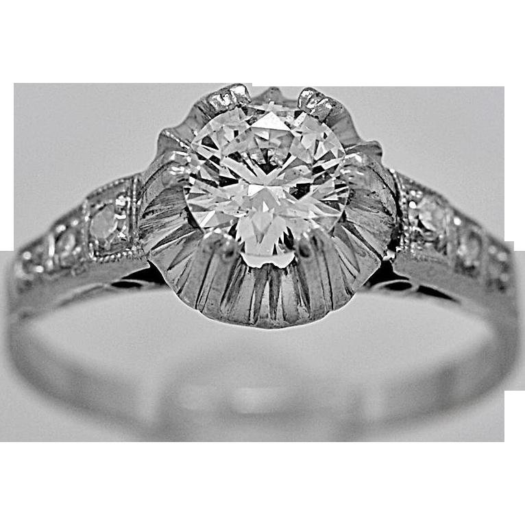 Antique Engagement Ring .43ct. Diamond & Platinum Art Deco - J35633