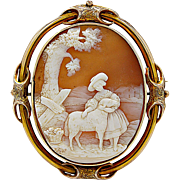 Antique Cameo Landscape Shell With 14K Yellow Gold Edwardian - J35644