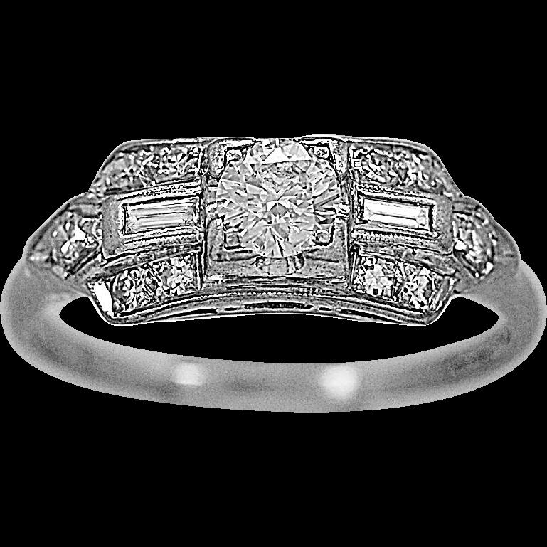 Antique Engagement Ring .33ct. Diamond & Platinum Deco - J35653