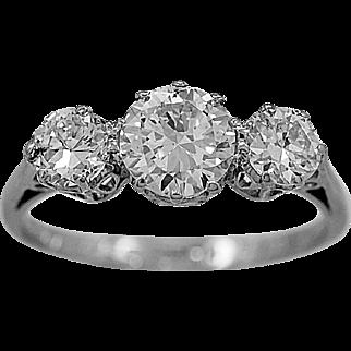 Antique 3 Stone Ring 1.46ct. T.W. Diamond & Platinum Art Deco - J35655