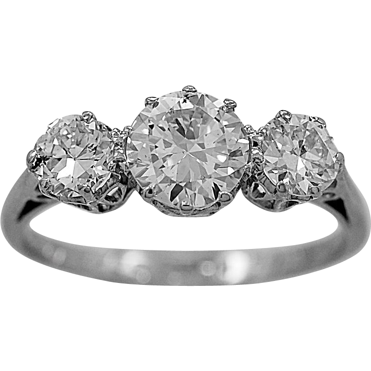 Antique 3 Stone Ring 1.46ct. T.W. Diamond & Platinum Art Deco - J35655