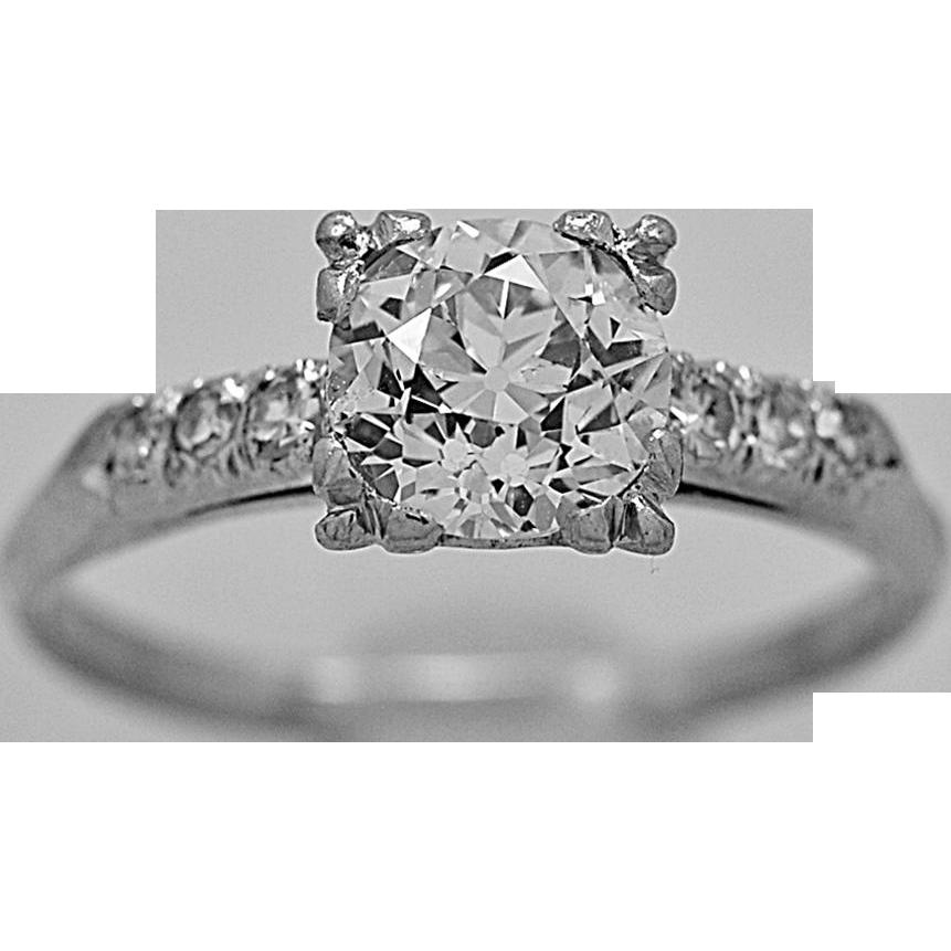 Vintage Engagement Ring 1.00ct. Diamond & Platinum Art Deco - J35656