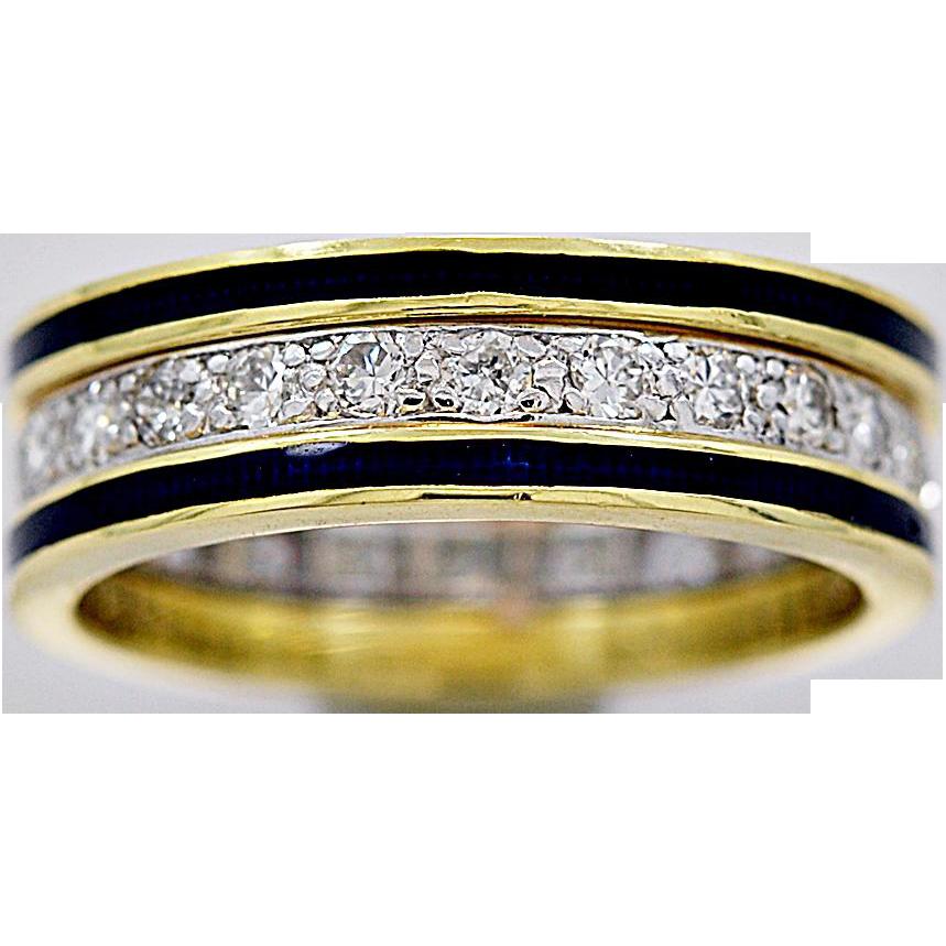 Estate Wedding Band .63ct. Diamond, Hidalgo Enamel & Platinum - J35657