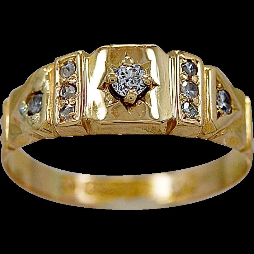 Antique Wedding Band .06ct. Diamond & Yellow Gold Late Victorian - J35658