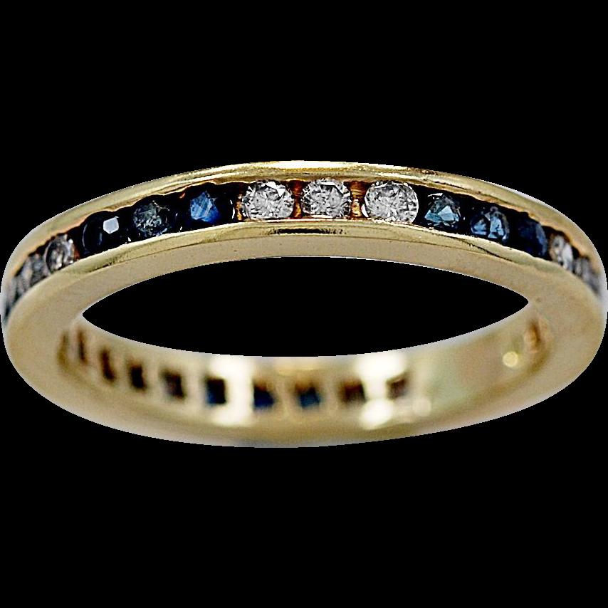 Estate Eternity Band .50ct. Sapphire, Diamond & 18K Yellow Gold - J35665