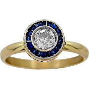 Antique Engagement Ring .33ct. Diamond, Sapphire & 18K Yellow Gold - J35667