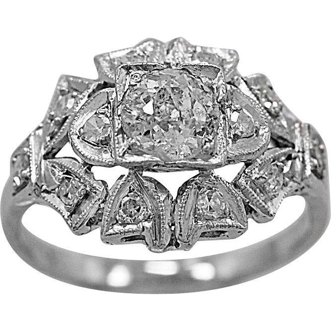 Antique Engagement Ring .55ct. Diamond & Platinum Art Deco - J35671
