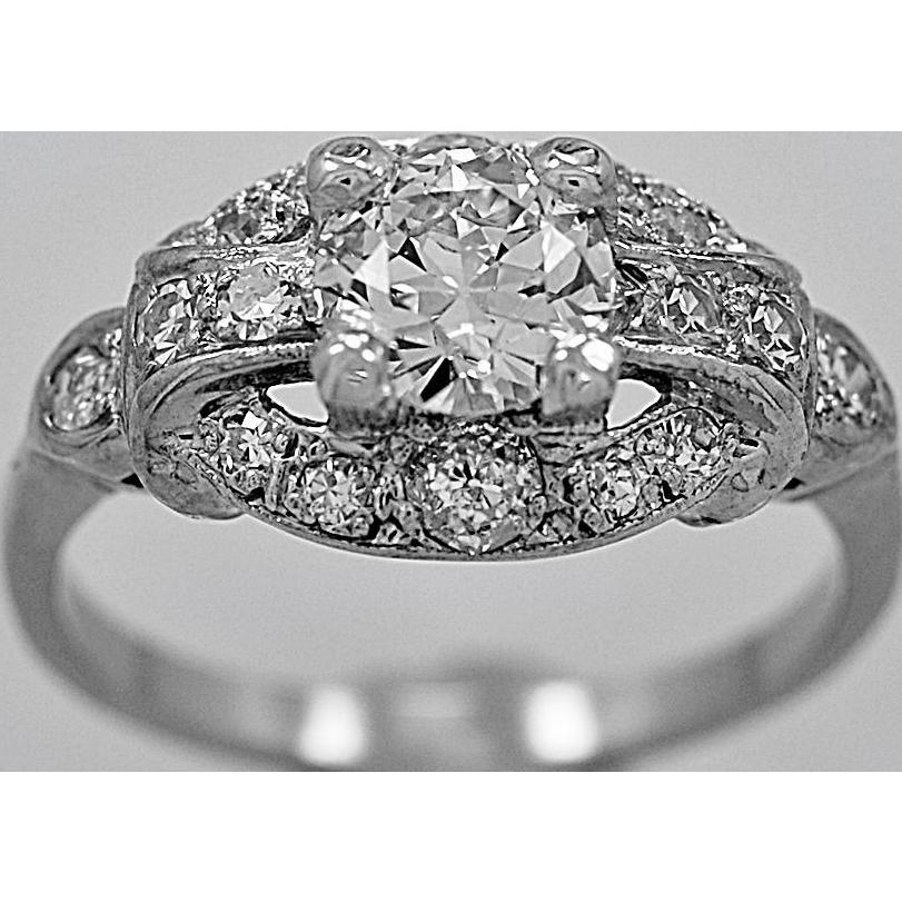 Antique Engagement Ring .77ct. Diamond & White Gold Art Deco - J35672
