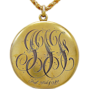 Art Nouveau Locket .08ct. Diamond & Yellow Gold c. 1912 - J35687