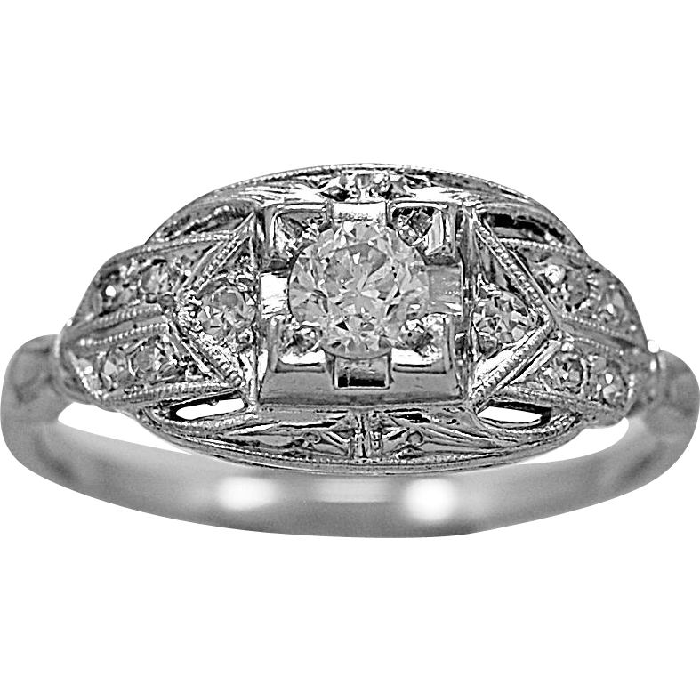 Antique Engagement Ring .25ct. Diamond & Platinum Art Deco - J35691