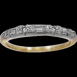 Antique Wedding Band .24ct. T.W. Diamond, White Gold & Yellow Gold - J35694