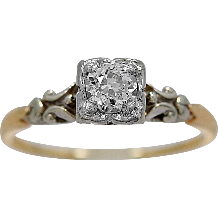 Orange Blossom Antique Engagement Ring .33ct. Diamond & Platinum - J35703