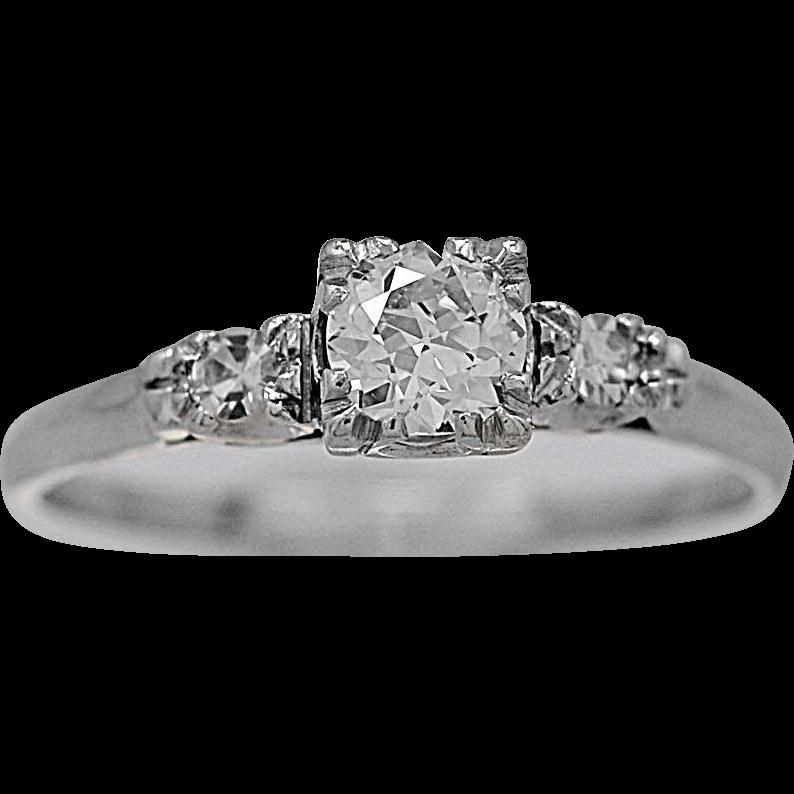 Antique Engagement Ring .40ct. Diamond & Platinum - J35704