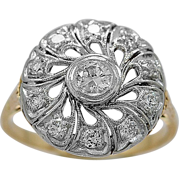 Antique Fashion Ring .15ct. Diamond, Platinum & Yellow Gold - J35725