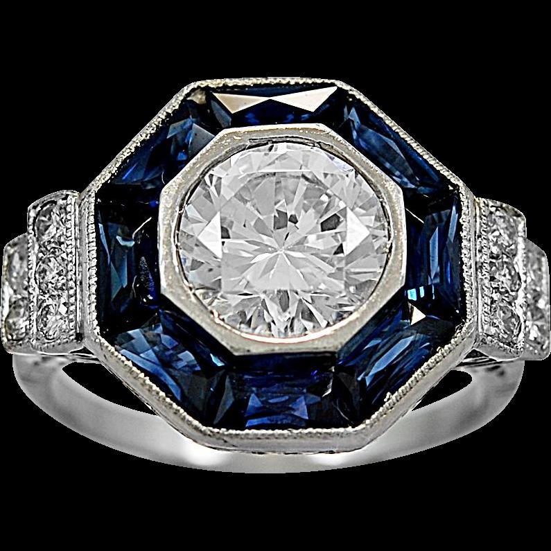 Antique Engagement Ring 2.00ct. CZ, Sapphire, Diamond, & Platinum - J35749