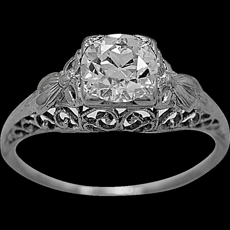 Antique Engagement Ring 1.07ct. Diamond & 18K White Gold - J35743