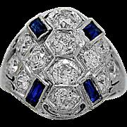 Antique Engagement Ring - Fashion Ring Diamond, Sapphire Platinum & Gold - J35746