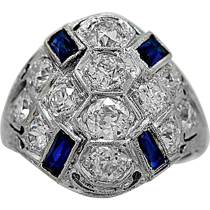 Antique Engagement Ring - Fashion Ring Diamond, Sapphire Platinum & Gold - J35746