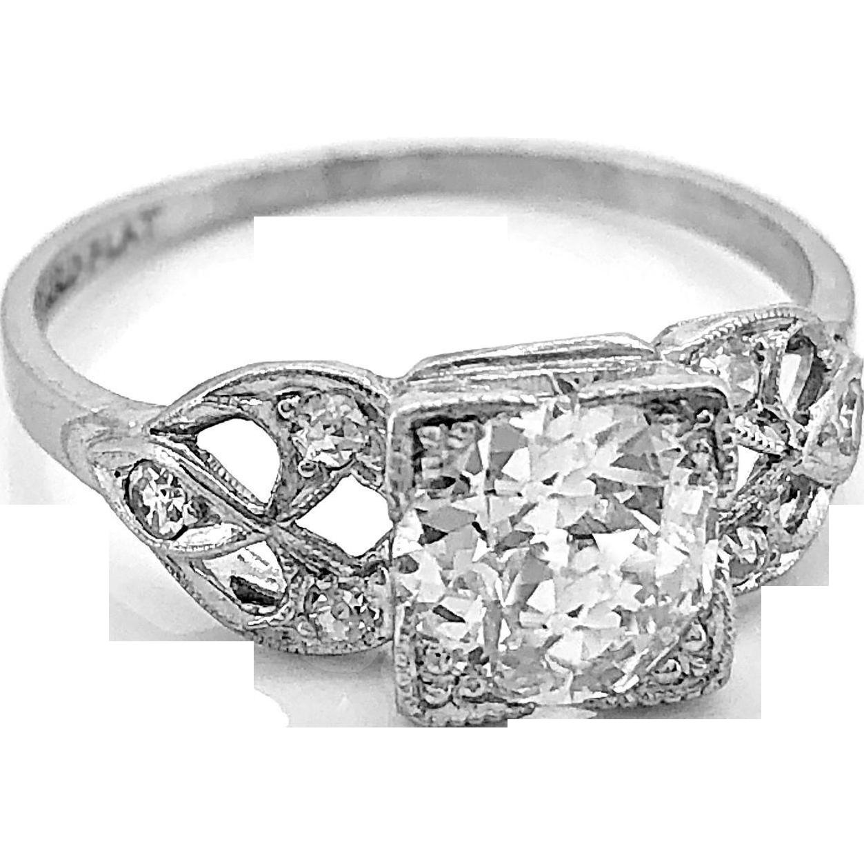 Antique Engagement Ring .75ct. Diamond & Platinum Art Deco - J35758
