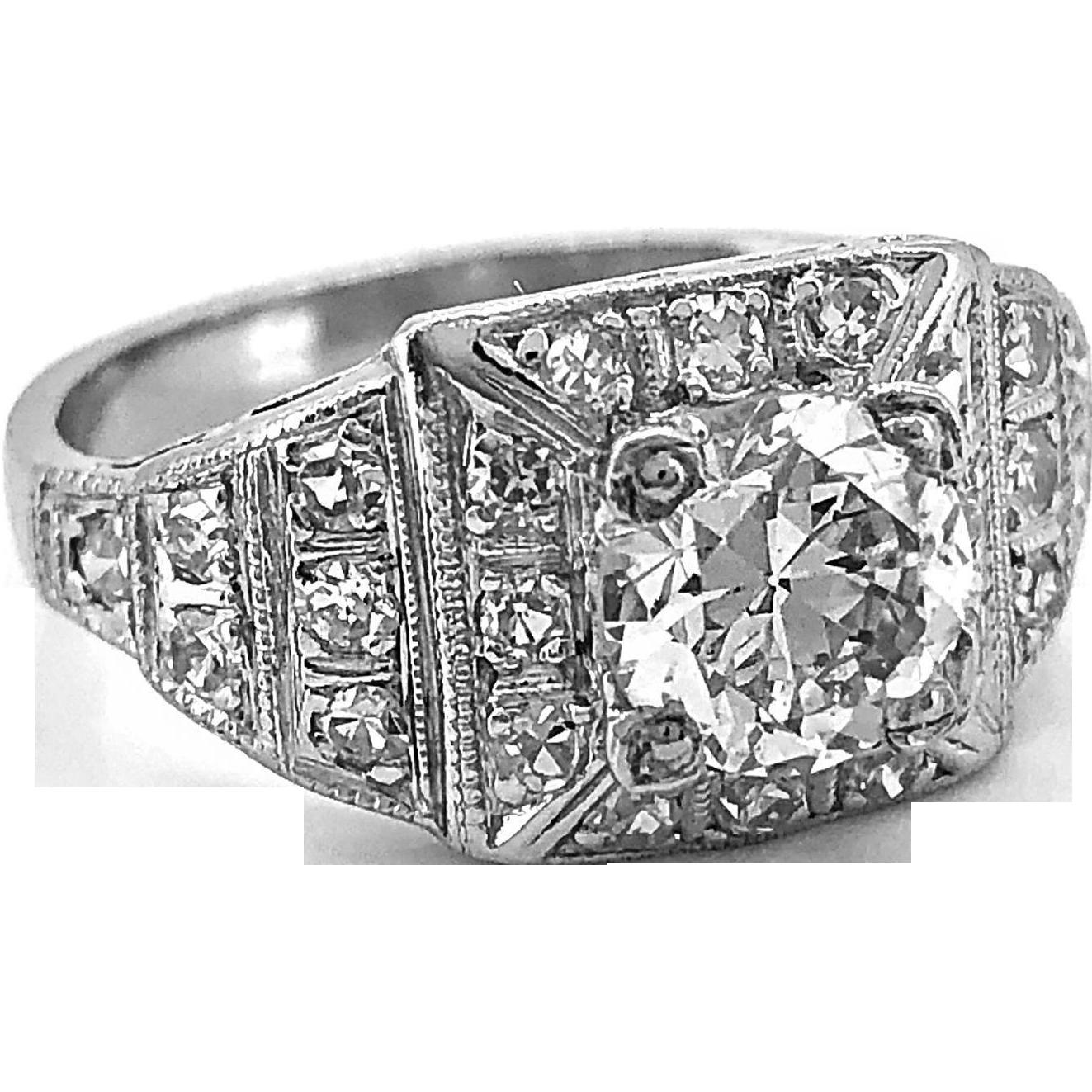 Antique Engagement Ring .97ct. Diamond & Platinum Art Deco - J35760