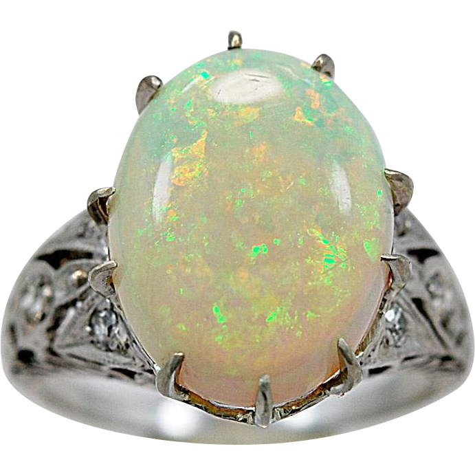 Antique Fashion Ring 5.00ct. Opal & Platinum Art Deco - J35764