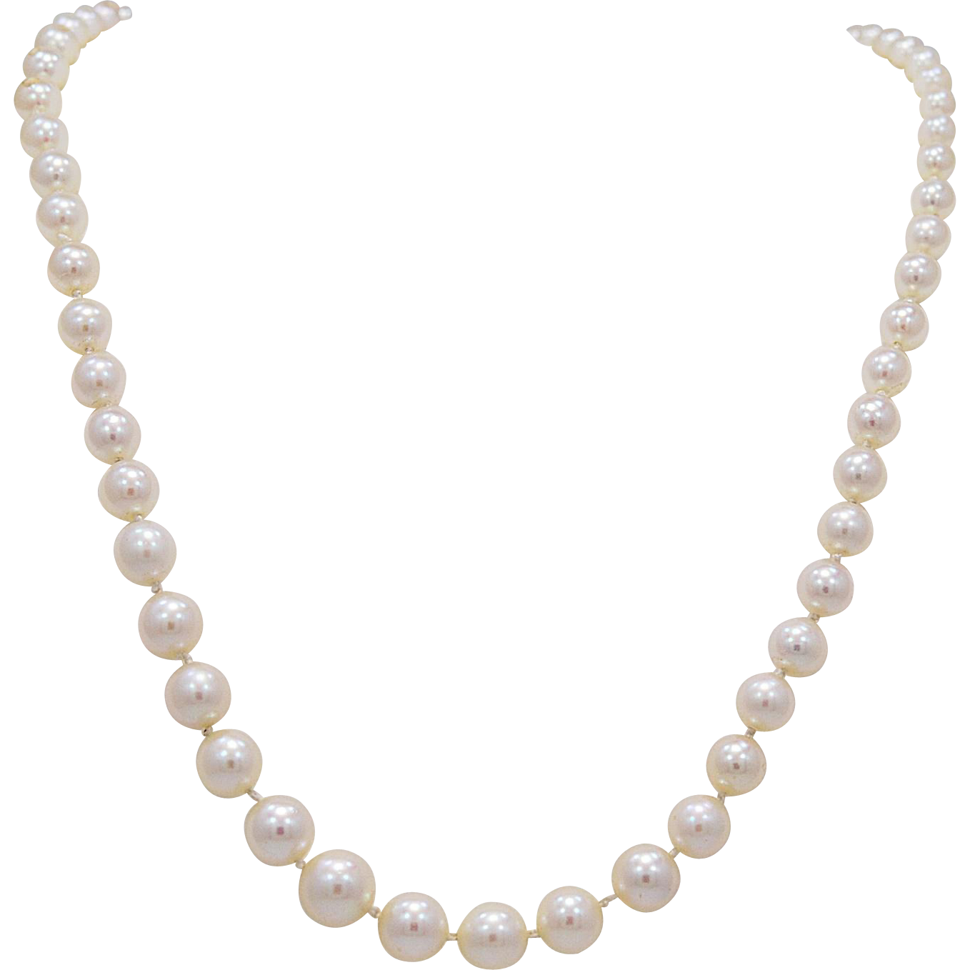 Vintage Necklace 3mm-7.5mm Graduated Pearl & White Gold - J35770