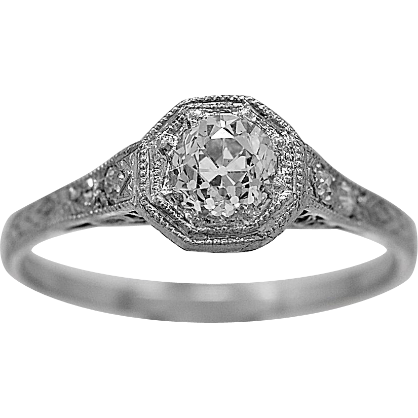 Antique Engagement Ring .55ct. Diamond & Platinum Art Deco - J35783