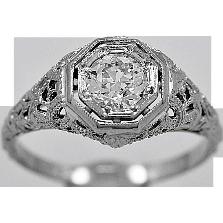 Antique Engagement Ring .50ct. Diamond & 18K White Gold Art Deco - J35785