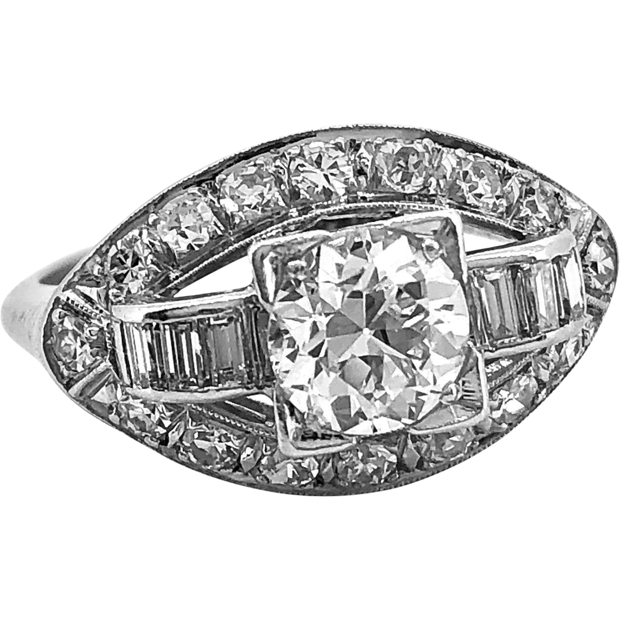 Antique Engagement Ring 1.00ct. Diamond & Platinum Art Deco - J35805